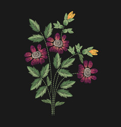 Meadow flower embroidered with pink yellow and vector