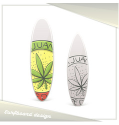 Medical marijuana surfboard four vector
