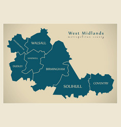 Modern map - west midlands metropolitan county vector