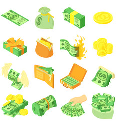 money coin dollar icons set isometric style vector image