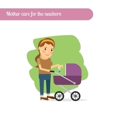 Mother cares for the newborn vector image