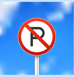 no parking sign on sky background vector image vector image