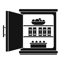 Open food fridge icon simple style vector