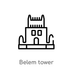 Outline belem tower icon isolated black simple vector