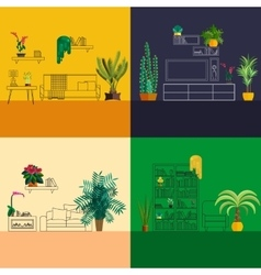 Outline interior decorated with flat homeplant vector
