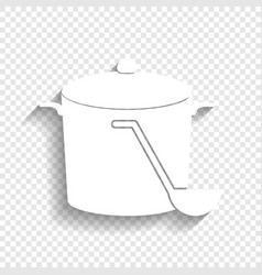 pan with steam sign white icon with soft vector image