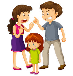 parents argue and little girl cries vector image