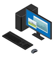 personal computer case keybord mouse and monitor vector image