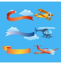 Plane Flies with Long Banners for Text on a vector image