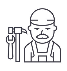 plumber line icon sign on vector image