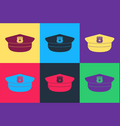 Pop art police cap with cockade icon isolated on vector