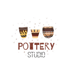 Pottery studio cartoon flat doodle clay pots vector