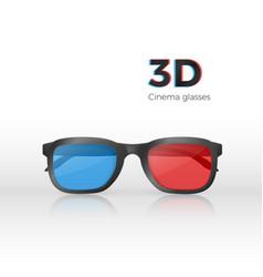 realistic 3d cinema glasses front view plastic vector image