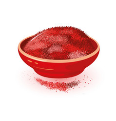 Red powdered paprika is in ceramic bowl spice vector