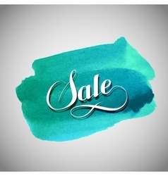 Sale label on the azure watercolor stain vector