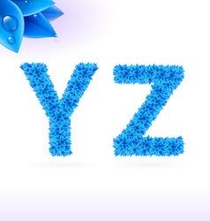 Sans serif font with blue leaf decoration vector