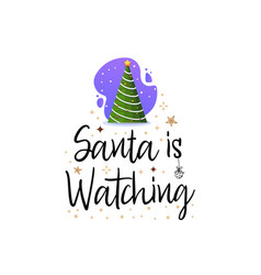santa is watching festive banner christmas tree vector image