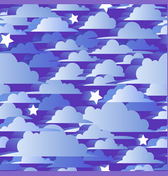 Seamless pattern with blue 3d clouds and stars vector