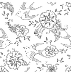 Seamless pattern with swallow bird flying and vector image