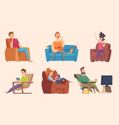 sedentary lifestyle man and woman sitting vector image