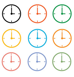 set clock icon on white background clock symbol vector image