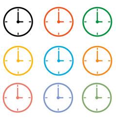 set clock icon on white background clock symbol vector image