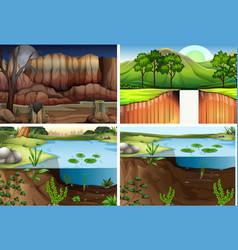 Set of different nature scene vector