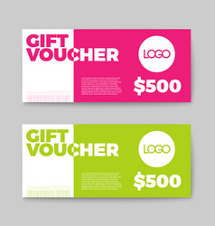 Set of gift discount voucher cards vector