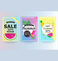 Set of summer sale background banner flyer vector
