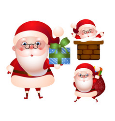 set of xmas of santa claus character vector image