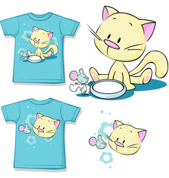 Shirt printed - cute kitten sitting next to vector