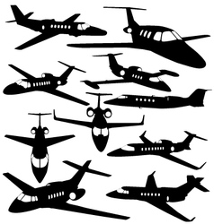 Silhouettes of private jet - contours of airplanes vector image