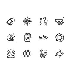 simple set diving snorkeling swimming sailing vector image