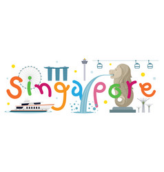 Singapore travel and attraction vector
