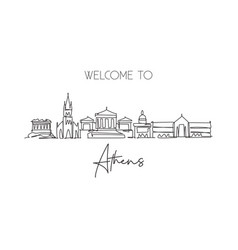 Single continuous line drawing athens city vector