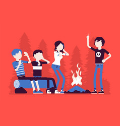 Spooky story near campfire fun vector