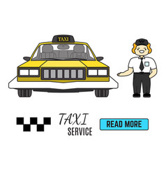 taxi service banner cab driver next to his taxi vector image