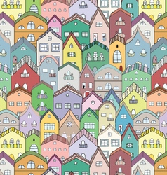 Town full of houses seamless pattern vector image
