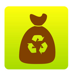 trash bag icon brown icon at green-yellow vector image
