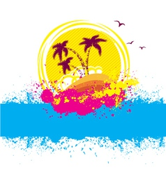tropical islandAbstract image with grunge elements vector image