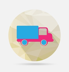 truck flat icon on geometric background vector image
