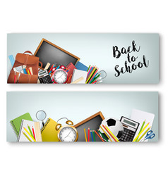 two back to school banners with supplies tols and vector image