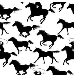 vintage seamless backgrounds with wild horses vector image