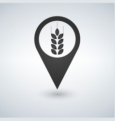 wheat field icon on map pointer vector image