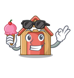 with ice cream cartoon dog house and bone isolated vector image