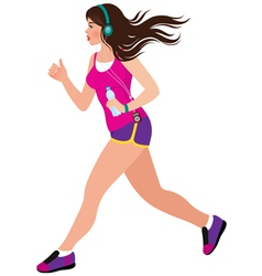 Young beautiful girl running vector image
