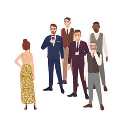 young woman standing in front of group of men vector image