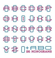 College sport team logo set Two letters monogram vector image vector image
