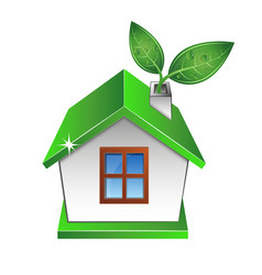 Eco house with a green leaf vector