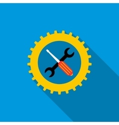 Gear wheel wrench and screwdriver icon vector image